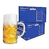 Wellco - Set di 12 boccali da birra in vetro, capacità 1 litro