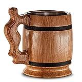 Grande boccale da birra in legno di rovere, realizzato a mano con incredibile...