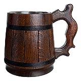 Tazza da birra fatta a mano, in legno di quercia, in acciaio inox, colore...
